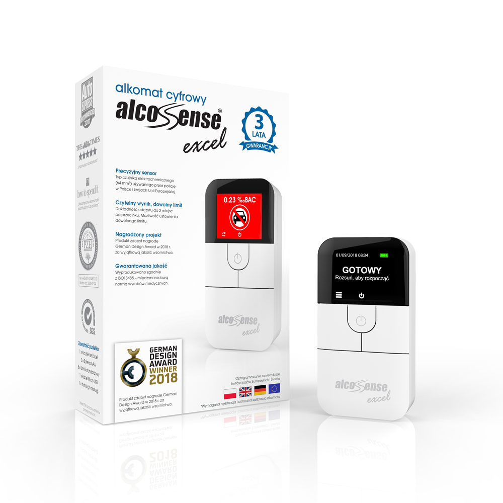 alcosense excel standing with box pl small