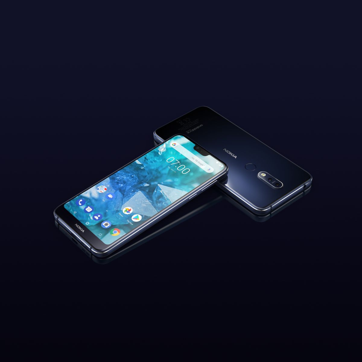 HMD Global Nokia 7.1 Midnight Blue Front and Back BB